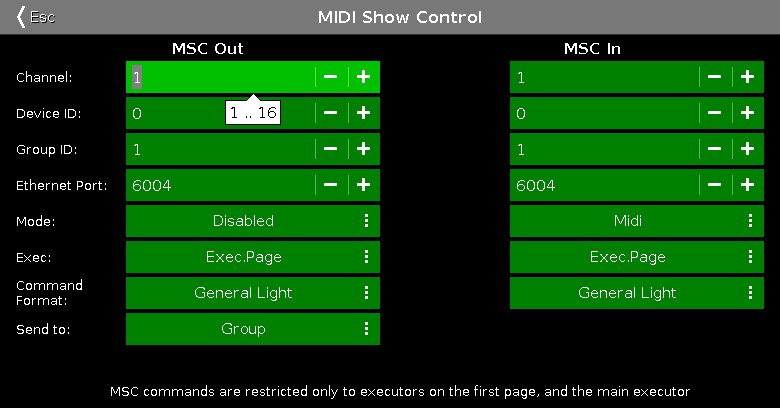 midi show control ウィンドウ